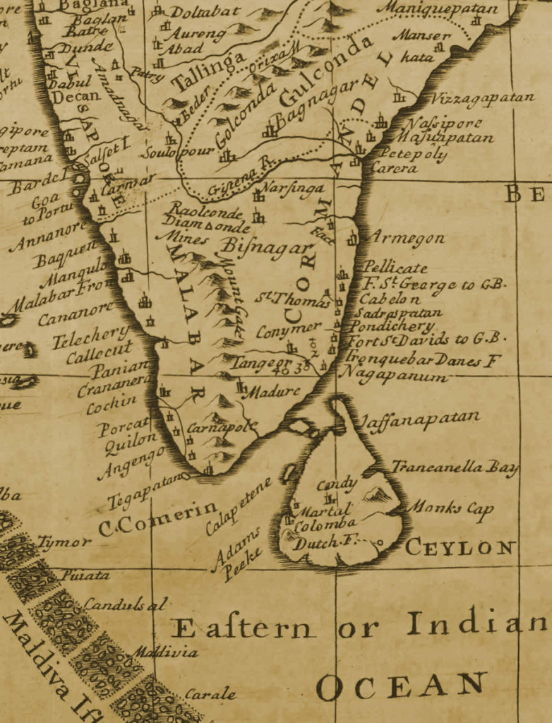 Map of South India, 1717